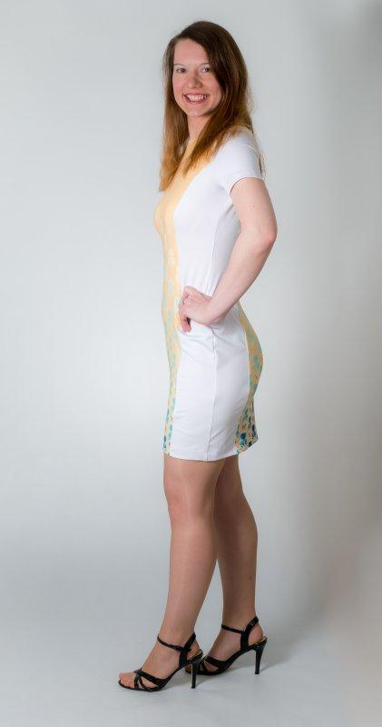 Dámské šaty Baronesa - Vanilkové nebe z boku