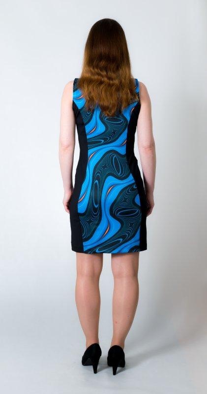 Dámské šaty Baronesa - Energizující proudy modré zezadu