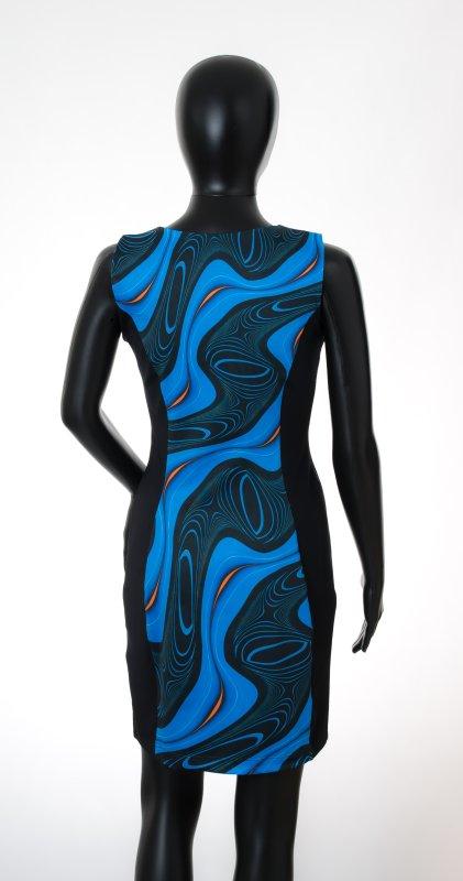 Dámské šaty Baronesa - Energizující proudy modré zadní díl