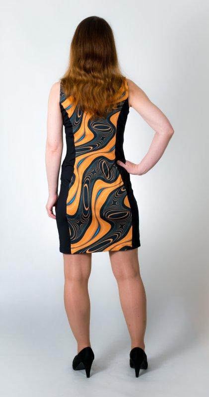 Dámské šaty Baronesa - Energizující proudy žluté zezadu