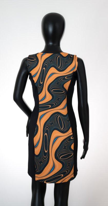 Dámské šaty Baronesa - Energizující proudy žluté zadní díl