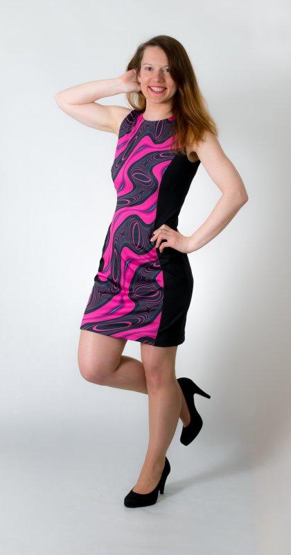 Dámské šaty Baronesa - Energizující proudy růžové z boku