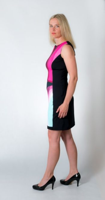 Dámské šaty Baronesa - Růžový tangens černý z boku