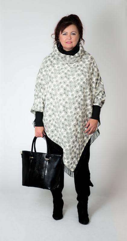 Dámské šaty Baronesa - Dámské pončo vanilka modní doplněk